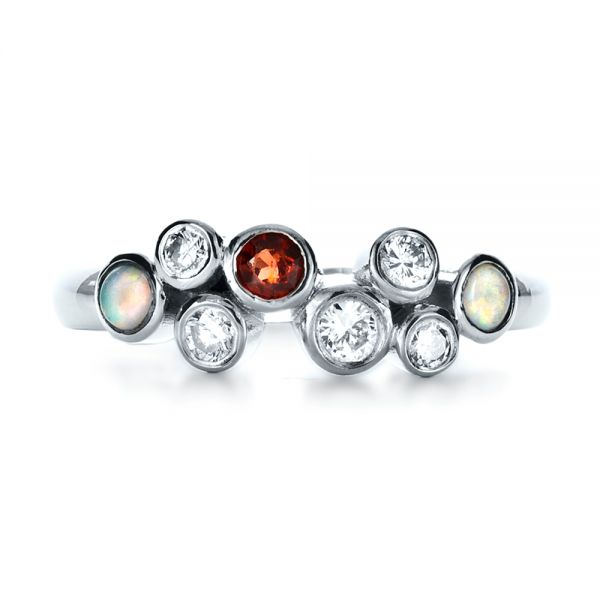 Platinum Custom Diamond And Opal Ring - Top View -  1157