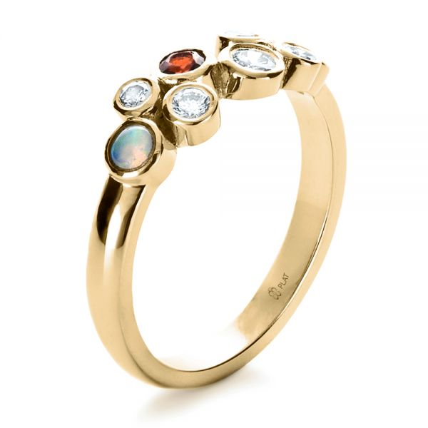 18k Yellow Gold 18k Yellow Gold Custom Diamond And Opal Ring - Three-Quarter View -  1157