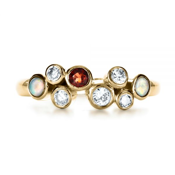 18k Yellow Gold 18k Yellow Gold Custom Diamond And Opal Ring - Top View -  1157