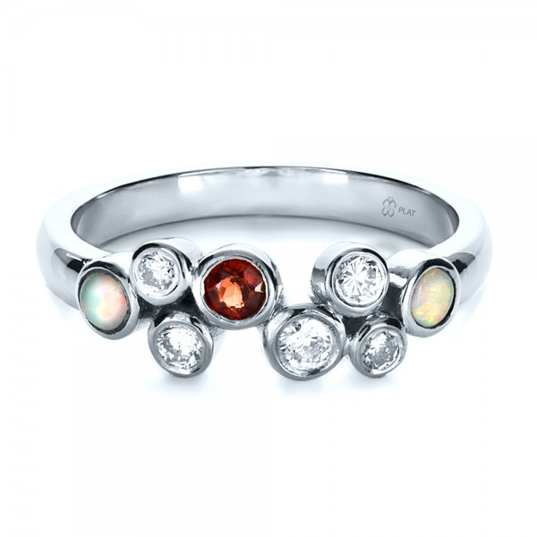 Custom Diamond and Opal Ring - Laying View
