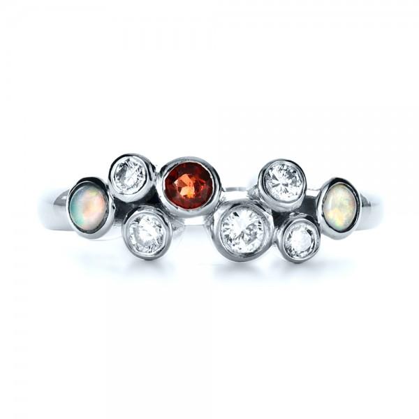 Custom Diamond and Opal Ring - Top View