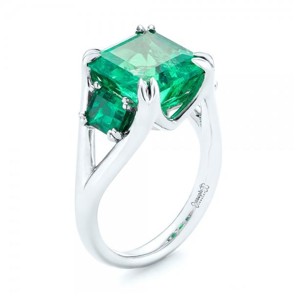 Custom Three Stone Emerald Fashion Ring