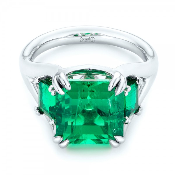 Custom Three Stone Emerald Fashion Ring - Laying View