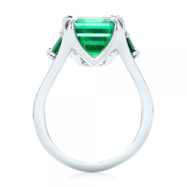 Custom Three Stone Emerald Fashion Ring - Finger Through View