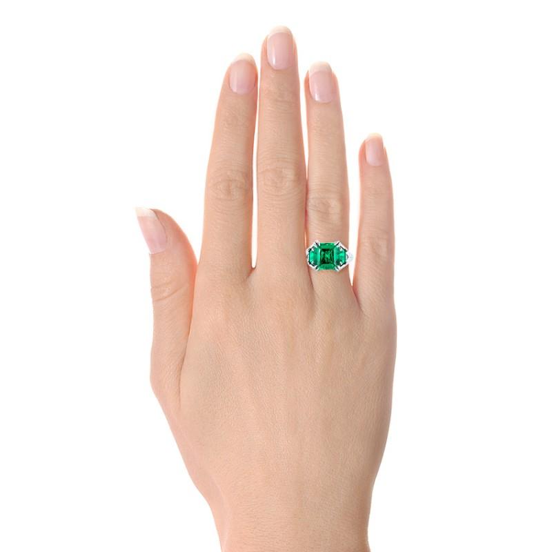 Custom Three Stone Emerald Fashion Ring - Model View