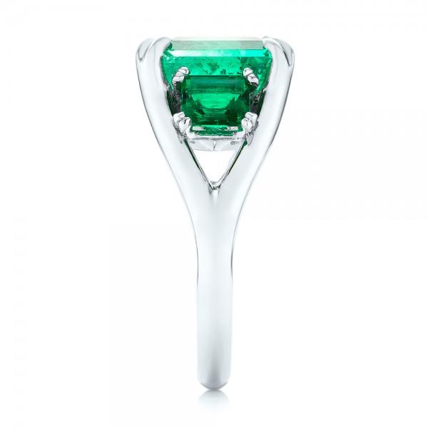 Custom Three Stone Emerald Fashion Ring - Side View