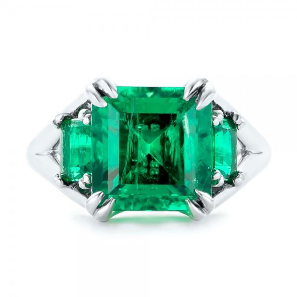 Custom Three Stone Emerald Fashion Ring - Top View