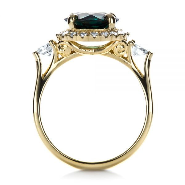 Custom Emerald and Diamond Fashion Ring - Front View -  1391 - Thumbnail