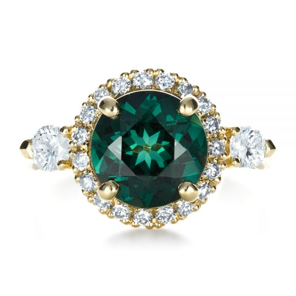 Custom Emerald and Diamond Fashion Ring - Top View -  1391 - Thumbnail