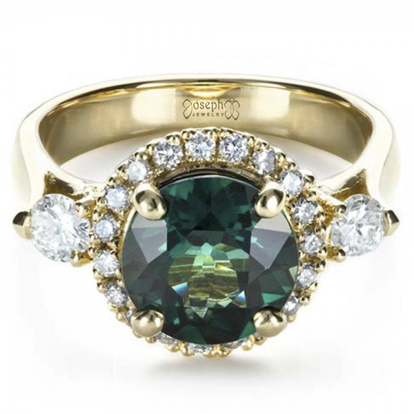 Custom Emerald and Diamond Fashion Ring - Flat View -  1391 - Thumbnail