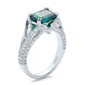 Custom Emerald and Diamond Ring - Image