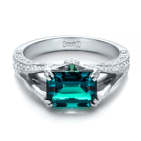 Custom Emerald and Diamond Ring - Flat View -  100653 - Thumbnail