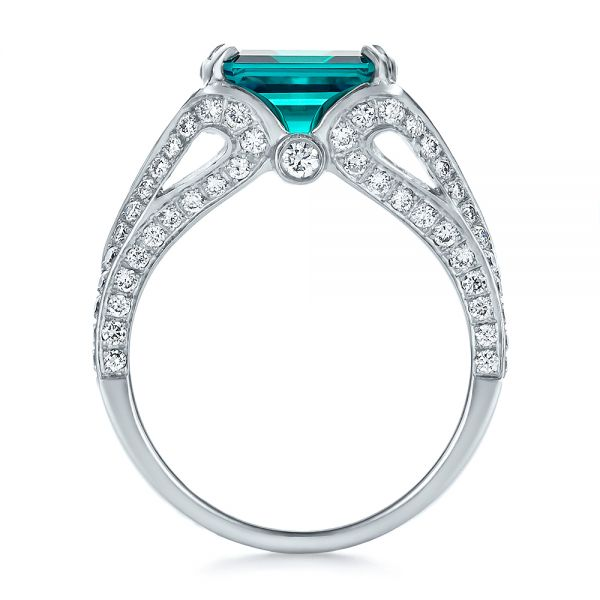 Custom Emerald and Diamond Ring - Front View -  100653 - Thumbnail