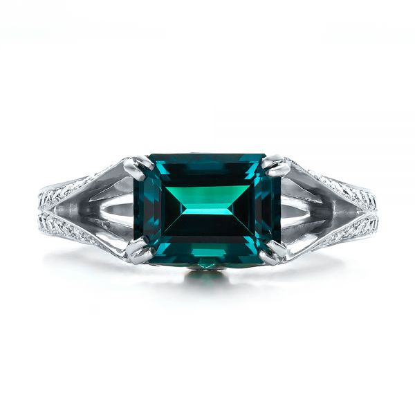 Custom Emerald and Diamond Ring - Top View -  100653 - Thumbnail