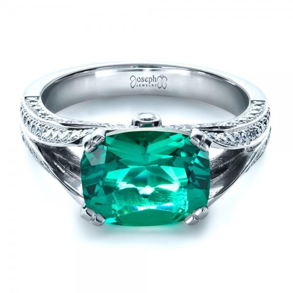 Custom Emerald and Diamond Ring - Laying View