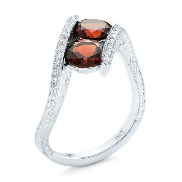 Custom Garnet and Diamond Fashion Ring - Image