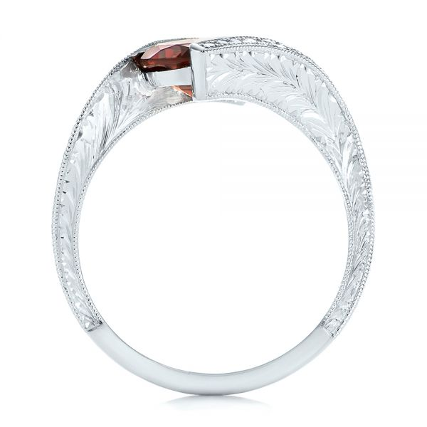 14k White Gold Custom Garnet And Diamond Fashion Ring - Front View -