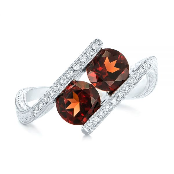 14k White Gold Custom Garnet And Diamond Fashion Ring - Top View -