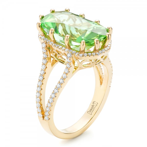 Custom Green Tourmaline and Diamond Halo Fashion Ring