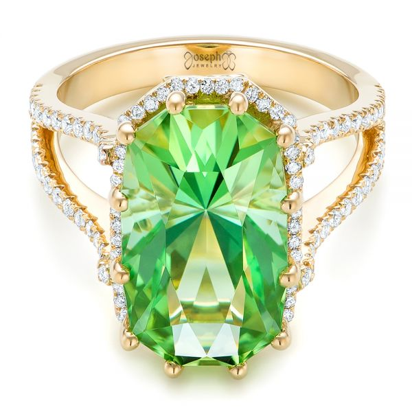 18k Yellow Gold Custom Green Tourmaline And Diamond Halo Fashion Ring - Flat View -
