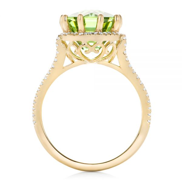 18k Yellow Gold Custom Green Tourmaline And Diamond Halo Fashion Ring - Front View -