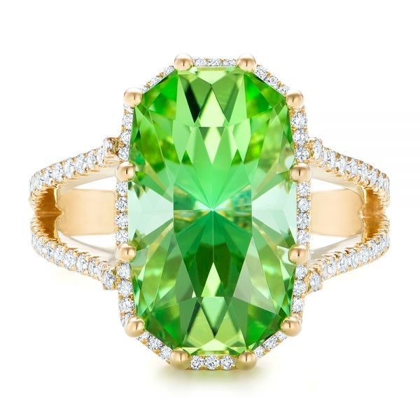18k Yellow Gold Custom Green Tourmaline And Diamond Halo Fashion Ring - Top View -