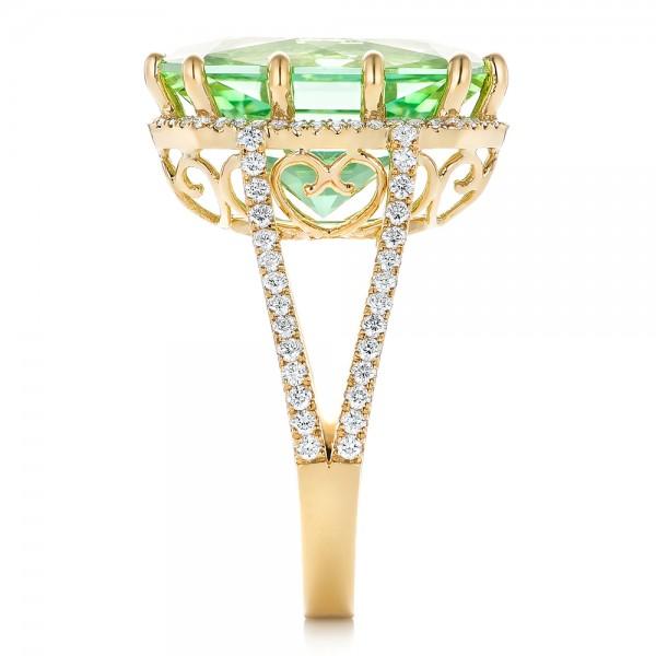 Custom Green Tourmaline and Diamond Halo Fashion Ring - Side View