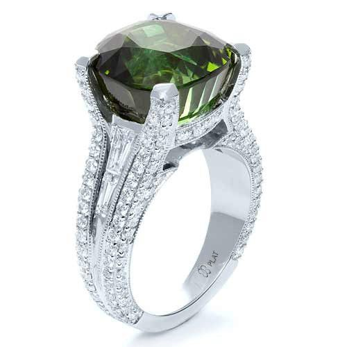 Custom Green Tourmaline and Diamond Women's Ring - Image