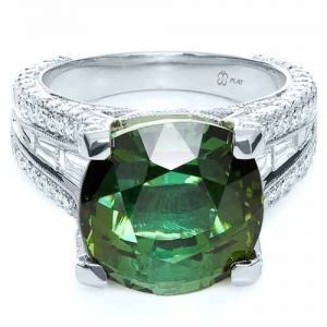 Custom Green Tourmaline and Diamond Women's Ring