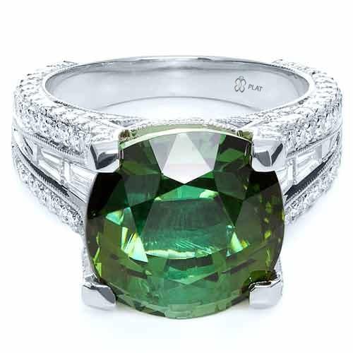 Custom Green Tourmaline and Diamond Women's Ring - Laying View