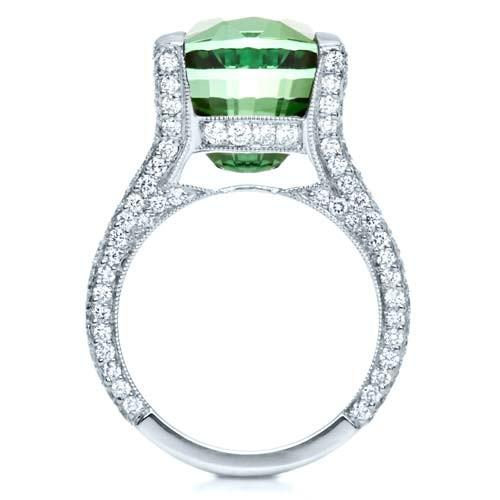 Custom Green Tourmaline and Diamond Women's Ring - Finger Through View