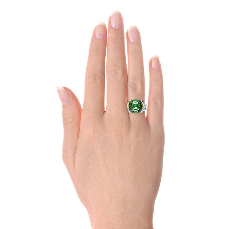 Custom Green Tourmaline and Diamond Women's Ring - Model View