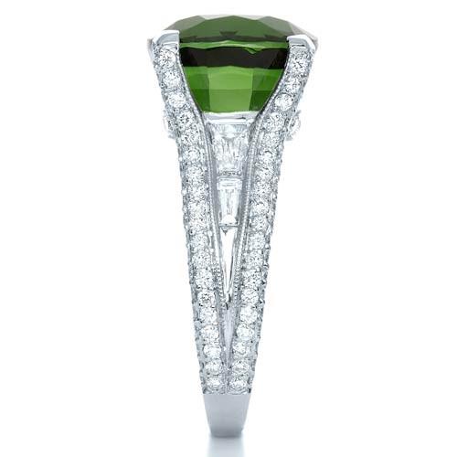 Custom Green Tourmaline and Diamond Women's Ring - Side View