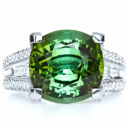 Custom Green Tourmaline and Diamond Women's Ring - Top View