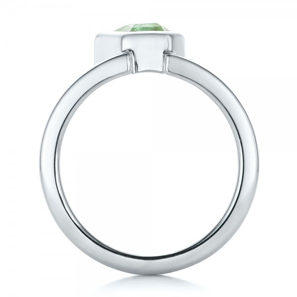 Custom Green Tourmaline and Sterling Silver Men's Ring - Finger Through View