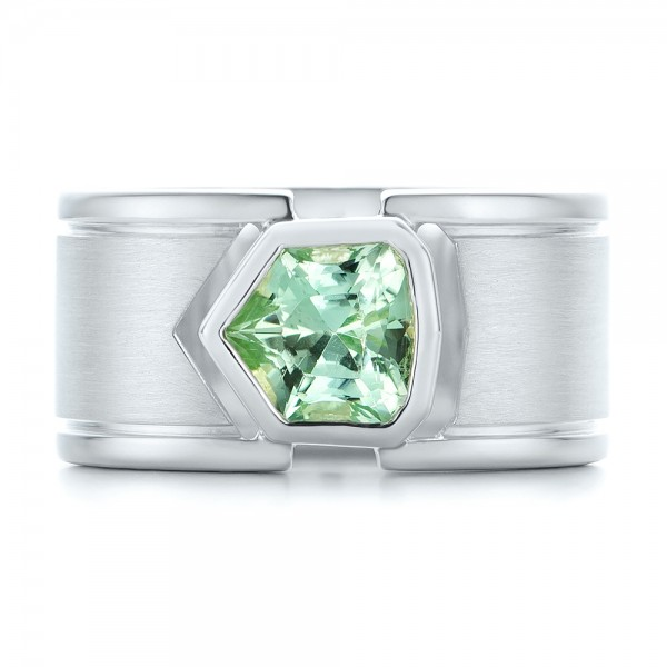 Custom Green Tourmaline and Sterling Silver Men's Ring - Top View