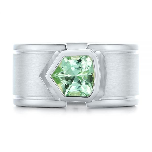 Custom Green Tourmaline And Sterling Silver Men's Ring - Top View -  102225