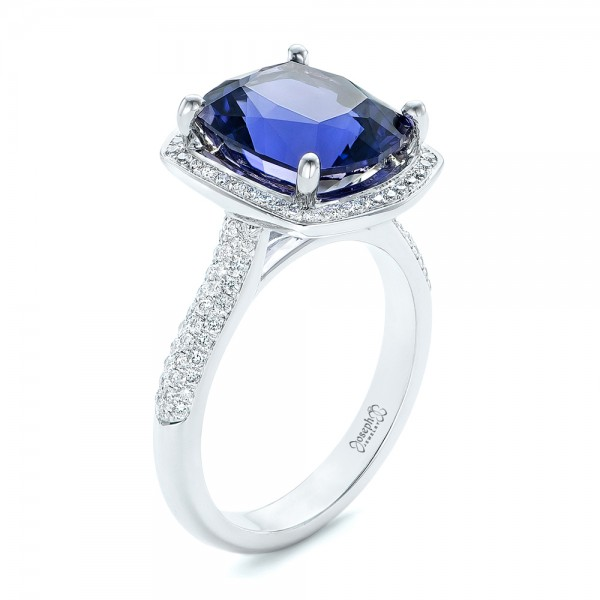 Custom Iolite and Diamond Halo Fashion Ring