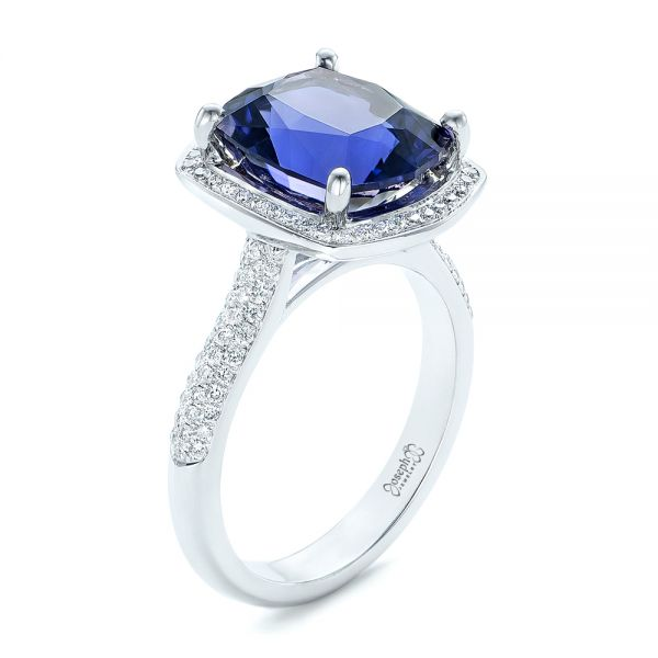 Custom Iolite and Diamond Halo Fashion Ring - Image