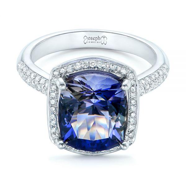 Custom Iolite And Diamond Halo Fashion Ring 102803
