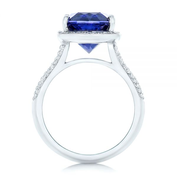 14k White Gold Custom Iolite And Diamond Halo Fashion Ring - Front View -