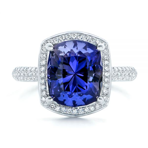 14k White Gold Custom Iolite And Diamond Halo Fashion Ring - Top View -