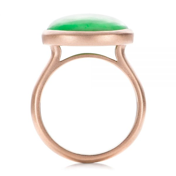14k Rose Gold Custom Jade Cabochon Fashion Ring - Front View -