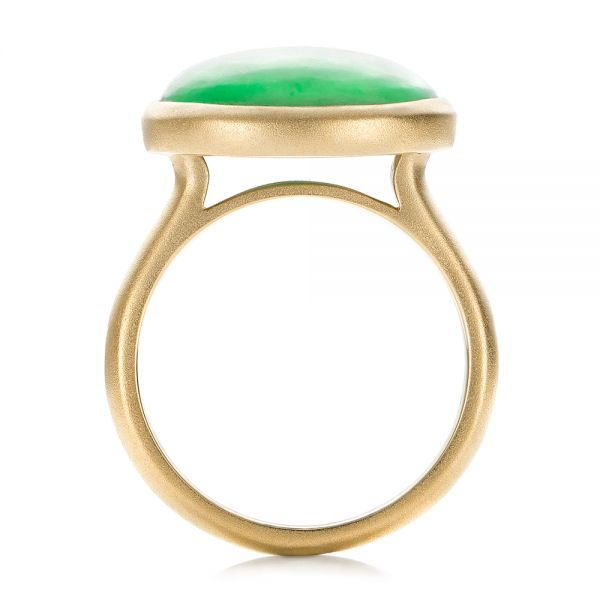14k Yellow Gold 14k Yellow Gold Custom Jade Cabochon Fashion Ring - Front View -