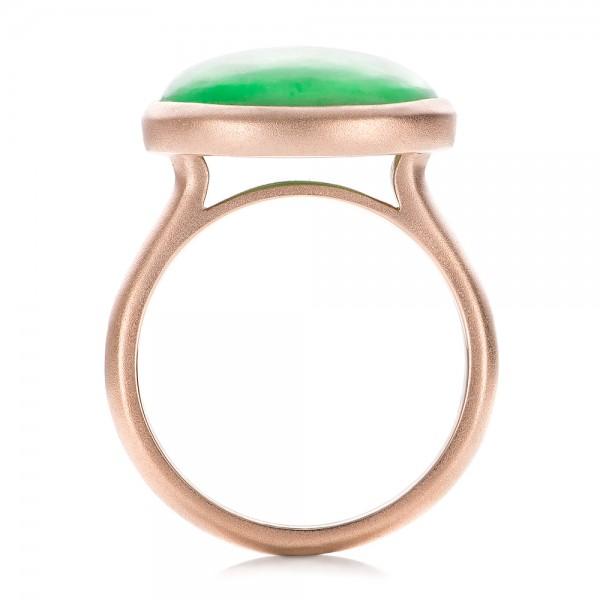 Custom Jade Cabochon Fashion Ring - Finger Through View