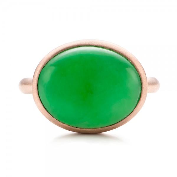 Custom Jade Cabochon Fashion Ring - Top View