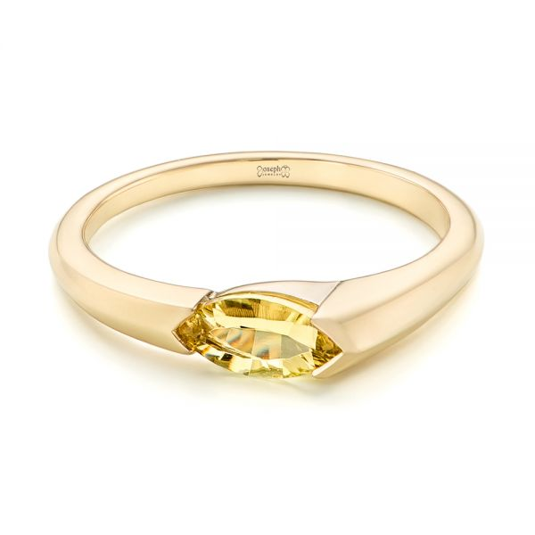 14k Yellow Gold Custom Marquise Citrine Fashion Ring - Flat View -