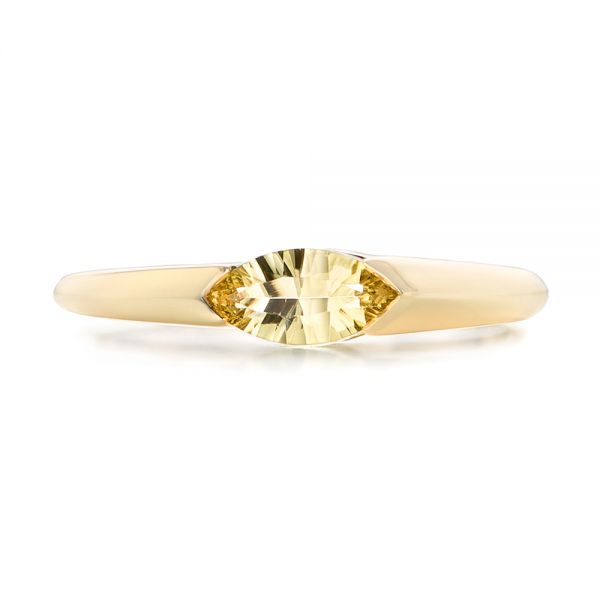 14k Yellow Gold Custom Marquise Citrine Fashion Ring - Top View -
