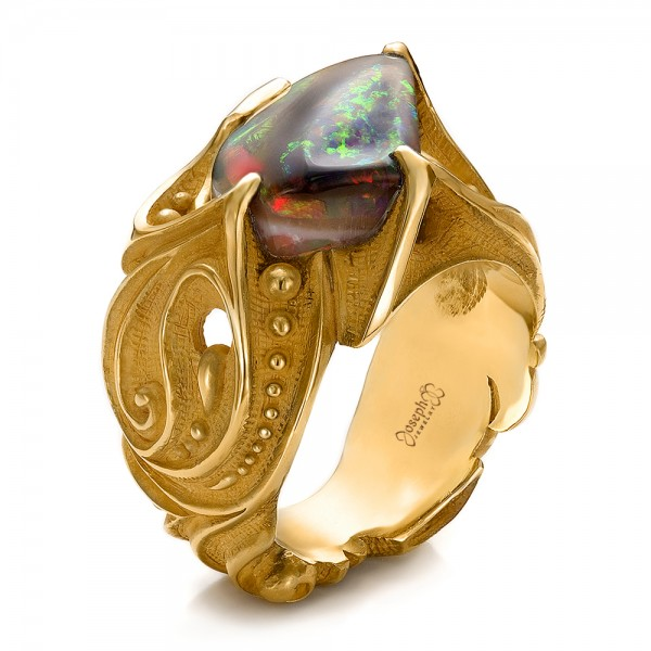 Custom Men's Black Opal and Yellow Gold Ring
