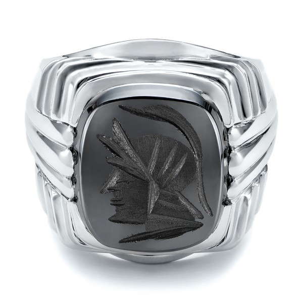 Custom Men's Signet Ring - Flat View -  101267 - Thumbnail